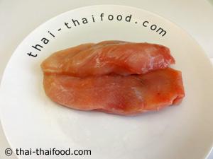 หมักเนื้ออกไก่กับเครื่องปรุงรส