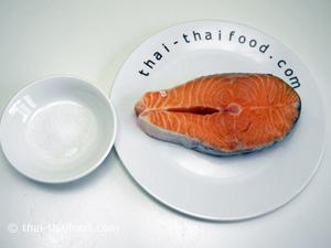 ปลาแซลมอนกับเกลือป่น