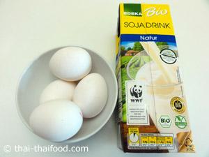 เตรียมไข่ไก่ นมถั่วเหลือง