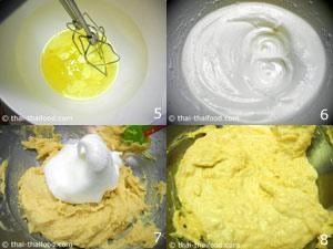 ผสมส่วนผสมไข่แดงกับส่วนผสมไข่ขาว