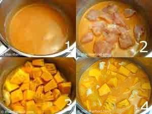 ผัดพริกแกงกับกะทิใส่เนื้อไก่ใส่ฟักทองลงไป