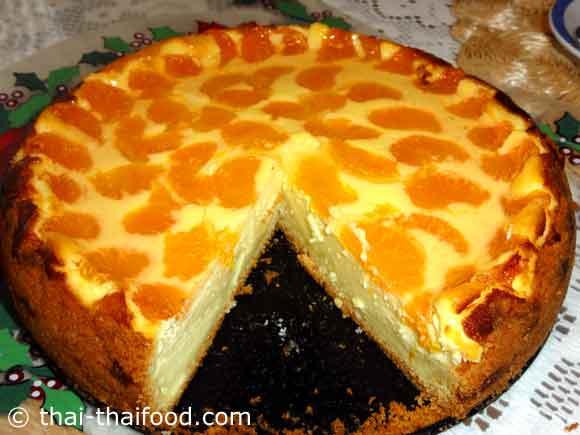 ชีสเค้กส้มแมนดาริน ตัดแบ่งเป็นชิ้นๆ