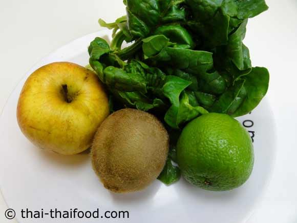 เตรียมกีวีแอปเปิ้ลผักโขมมะนาว