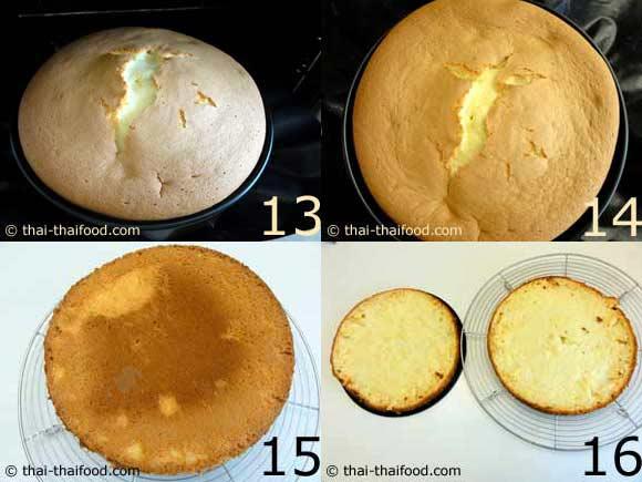นำเค้กพักไว้ให้เย็นแล้วตัดแบ่งเค้กเป็นสองส่วน