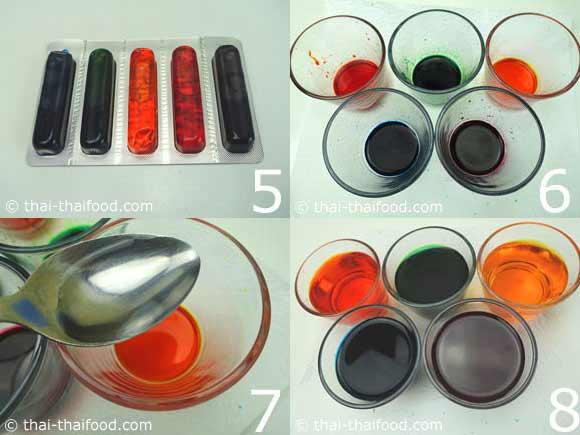 นำสีผสมอาหารผสมน้ำส้มสายชูกับน้ำเปล่า