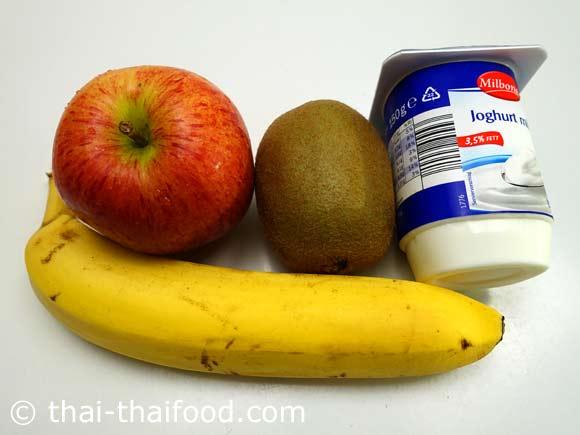 เตรียมกีวีกล้วยแอปเปิ้ลโยเกิร์ต