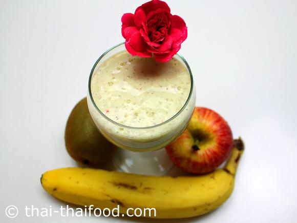 น้ำกล้วยกีวีแอปเปิ้ลโยเกิร์ตปั่น พร้อมดื่ม