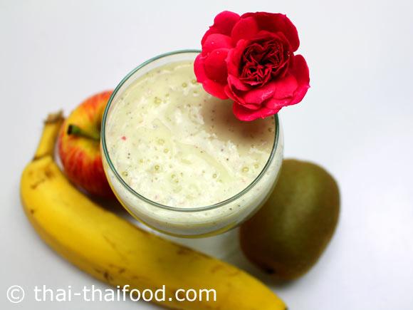 น้ำกล้วยกีวีแอปเปิ้ลโยเกิร์ตปั่น