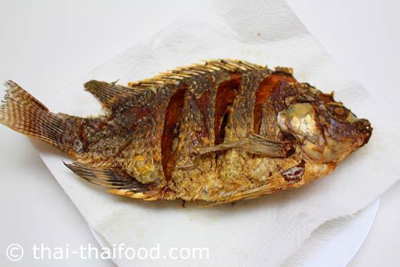 ตักปลาทอดสะเด็ดน้ำมัน