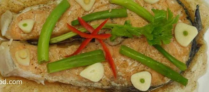 ปลาแซลมอนนึ่งซีอิ้ว