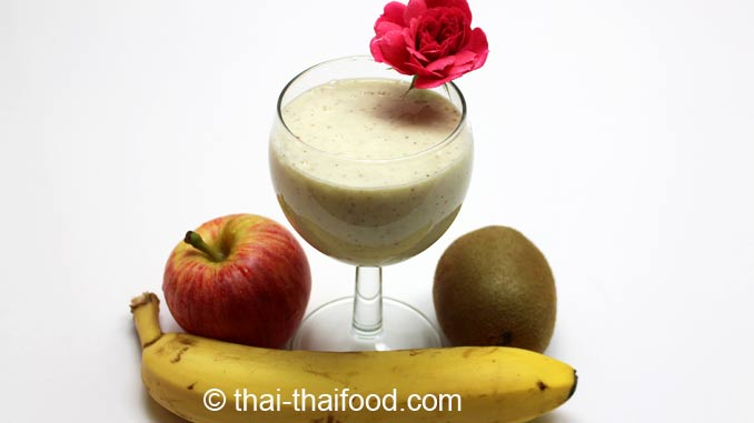 น้ำกล้วยกีวีแอปเปิ้ลโยเกิร์ตปั่น-banana-kiwi -apple-yogurt-smoothie
