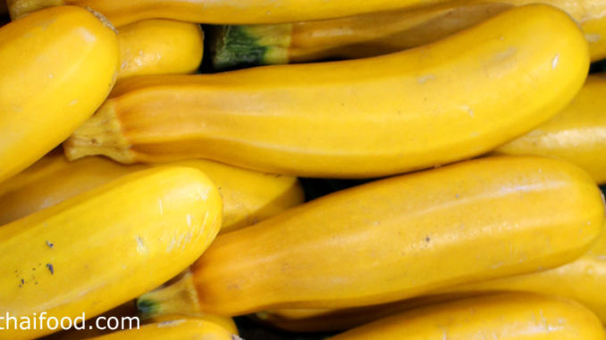 ซูกินีสีเหลือง (Golden Zucchini) ผลกลมเรียว ยาวรี ทรงกระบอก ผิวเปลือกบางมีขนอ่อนๆ มีขั้วใหญ่หนา ผลสีเหลืองหรือสีเหลืองอมส้ม เนื้อสีขาวนวล มีไส้ภายในตรงกลางผลมีเมล็ดเรียงอยู่