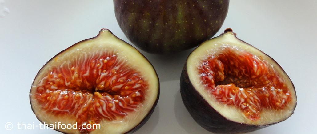 มะเดื่อ (Fig) ผลมีทรงกลมแป้น หรือรูปไข่ มีจุกยื่นตรงขั้ว ผลสีแดงอมเหลือง สีเขียว สีชมพู สีม่วง สีน้ำตาล ตามสายพันธุ์ เนื้อนุ่มฉ่ำน้ำ สีแดงหรือสีชมพูอมแดง รสชาติหวานหอม