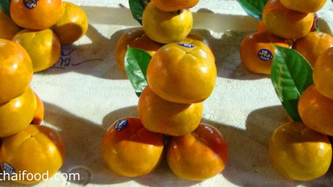 ลูกพลับ (Persimmon) ผลมีทรงกลม ทรงไข่ หรือทรงแป้น ตามสายพันธุ์ ผลสุกสีเหลืองหรือสีเหลืองอมส้ม มีเนื้อสีเหลืองหรือสีส้ม เนื้อแน่นฉ่ำน้ำ รสชาติหวานกรอบมีกลิ่นหอม