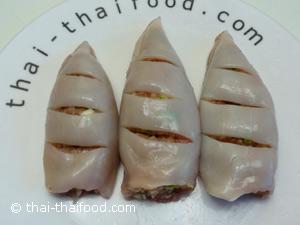 Mit Hackfleisch gefüllter Tintenfisch